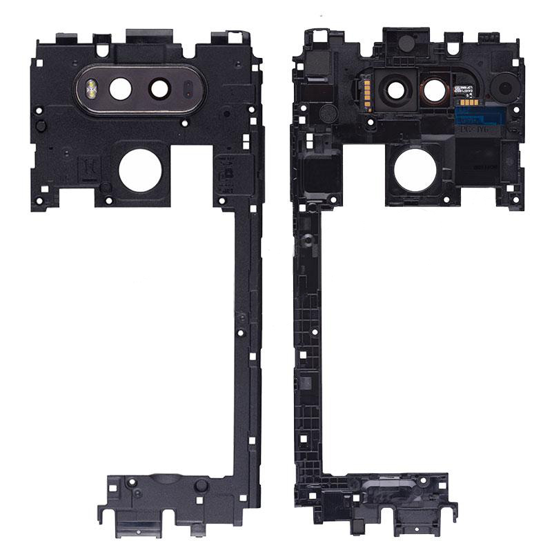 Middle Housing with Camera Lens and Camera Cover for LG V20 F800L H910 H915  H990 H990DS H990TR LS997 US996 VS995 - Black